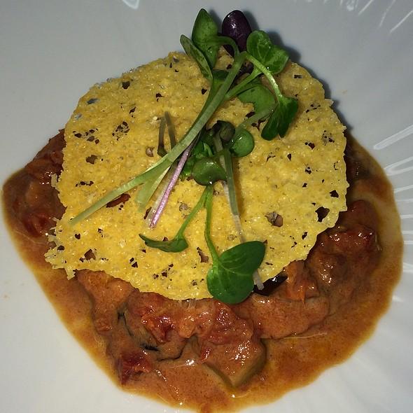 Leek Ravioli With Eggplant, Rose Sauce - Q Haute Cuisine (formerly La Caille), Calgary, AB