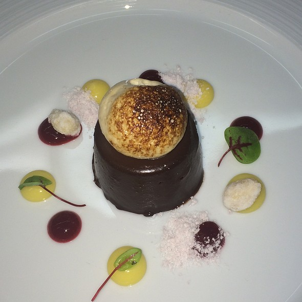 Chocolate Cake With S'Mores Ice Cream And Espresso Caramel - Q Haute Cuisine (formerly La Caille), Calgary, AB