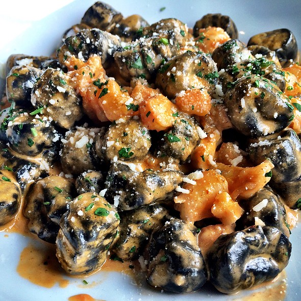 Black Squid Ink Gnocchi With Shrimp Bisque