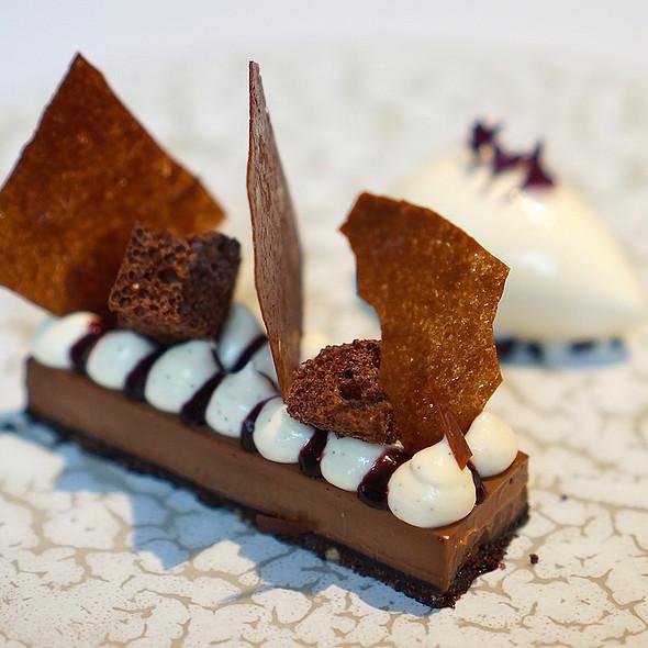 Pavé of chocolate, cherry jam, milk cream, sake ice cream at The ...