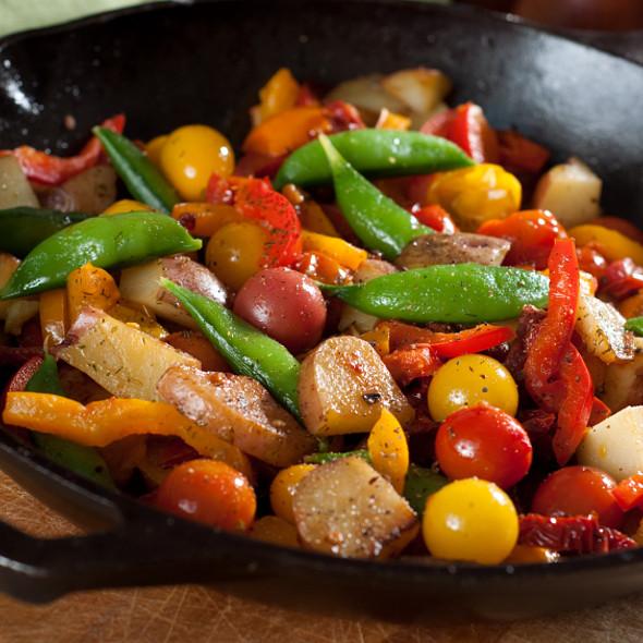 Organic vegetable stir fry in cast iron skillet @ Coconut Grove