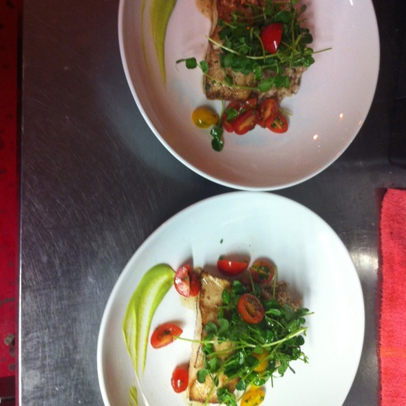 Halibut With Farro And Pea Sprout Salad @ twelve restaurant