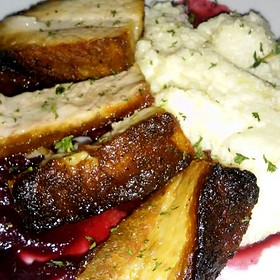 Pan Crisped Pork Belly, Goat Cheese Grits, & Sweet Onion Chutney