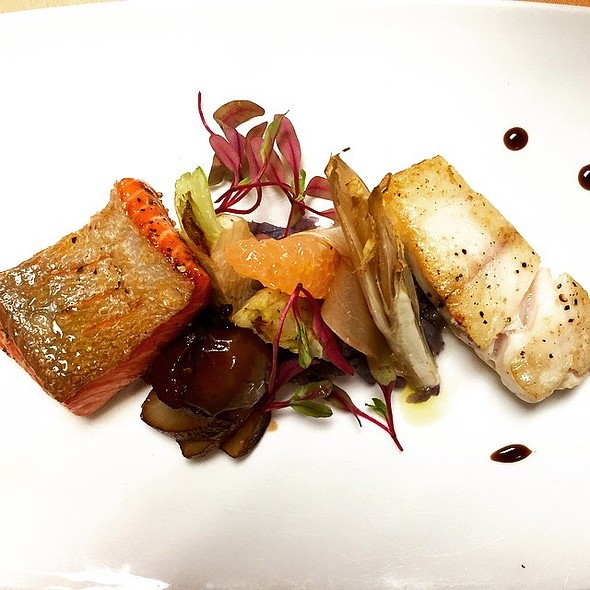 Alaskan King Salmon and Sea Bass with Peruvian Potato, Fennel, and Poached Pear