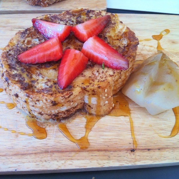 French Toast With Poached Pears @ Swallow Coffee Traders