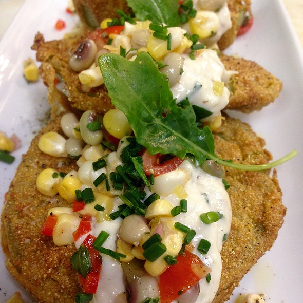 Fried Green Tomatoes, Creole Crab Remoulade, Sweet Corn & Purple Pea Pico