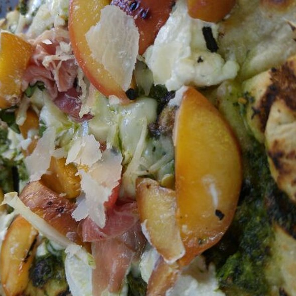 Grilled Peach And Prosciutto Flatbread  @ Backstreet Cafe