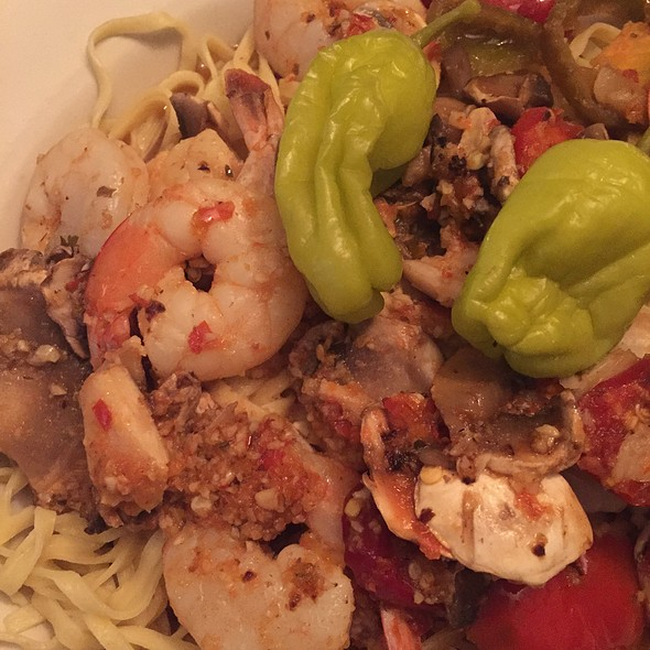 Shrimp And Hot Peppers Over Linguine