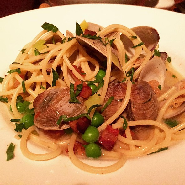 Spaghetti with Littleneck Clams, Leeks, English Peas, Pancetta, Red Pepper Flakes, and Parsley - ELEVEN, Pittsburgh, PA