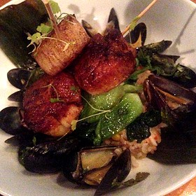 Diver Scallops With Mussels Over Coconut Curry Rice