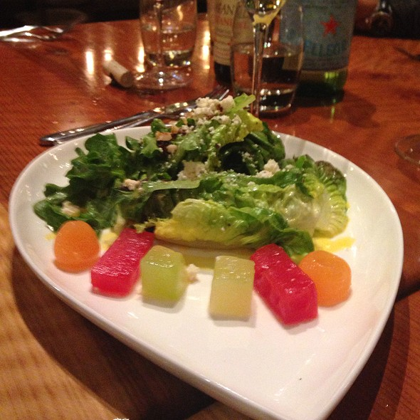 Compressed Melons Candied Hazelnuts Housemade Ricotta Cheese Mix Garden Greens @ Valette