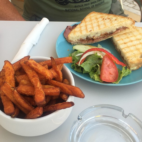Bacon, Cheese & Crispy Onion Toastie With Sweet Potato Fries at The ...