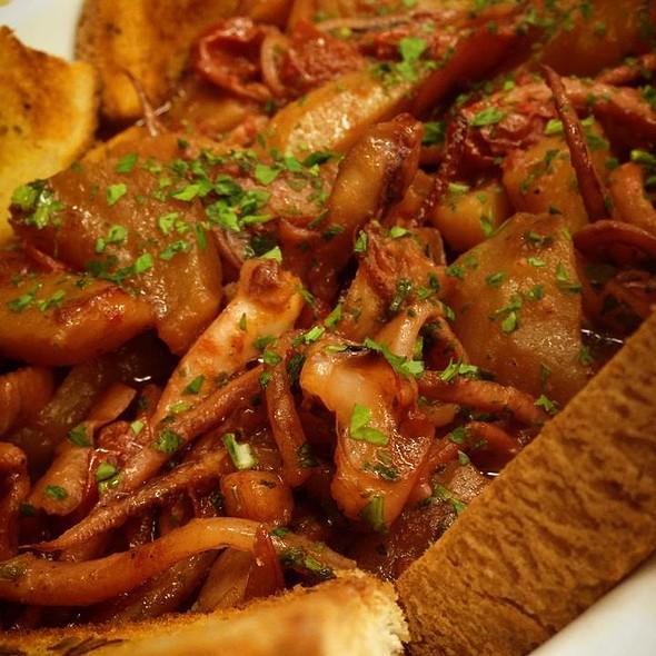 Squids and Potatoes on Bread Crust @ Ristorante Ruccio
