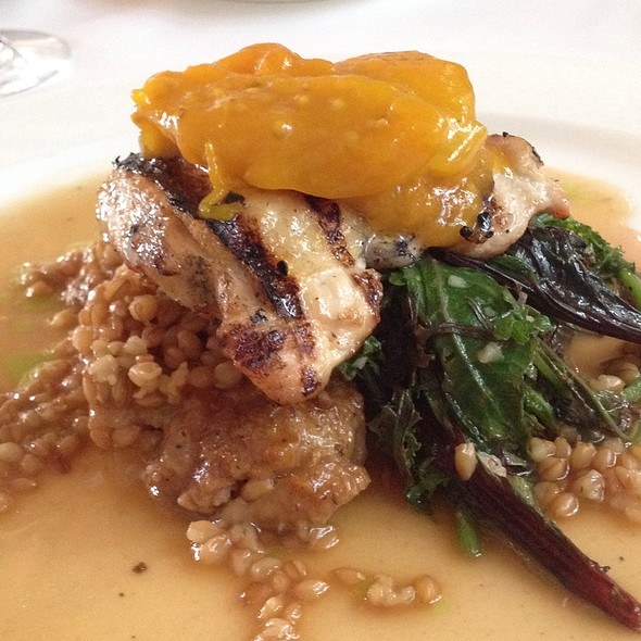 Grilled Mad Hatter's Farm Chicken With Apricots, North African Spices, Eikorn Farro, And Organic Greens - Whitehouse-Crawford, Walla Walla, WA