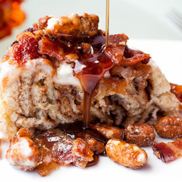 Cherry Bourbon Sticky Bun, applewood bacon,candied walnuts, pure maple syrup