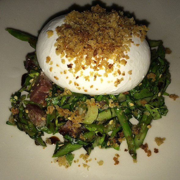 Burrata with Grilled Asparagus Salad, Salami, Toasted Sesame, Oregano Vinaigrette & Breadcrumbs