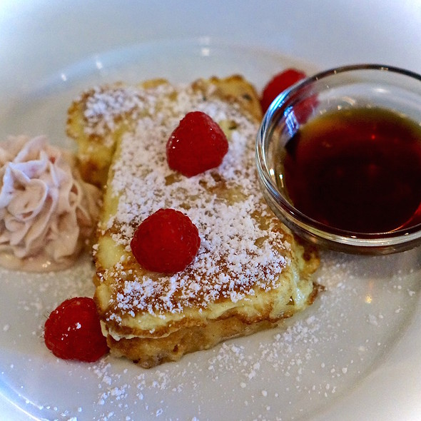 French toast – ciabatta bread pudding, raspberry mascarpone, maple syrup, sea salt @ Osteria Langhe
