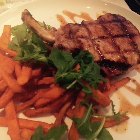 Pork Chops With Sweet Potato Fries - Parkers' Restaurant & Bar, Downers Grove, IL