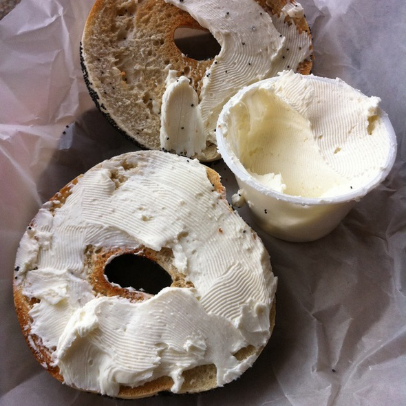 Poppy Seed Bagel With Plain Cream Cheese @ Big Blue Bagel & Deli