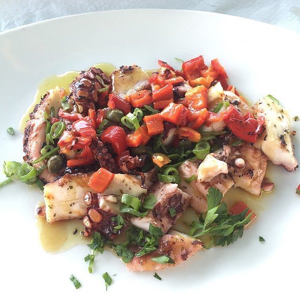 Grilled Octopus With Spring Onion, Peppers, And Capers . @ Ελιά