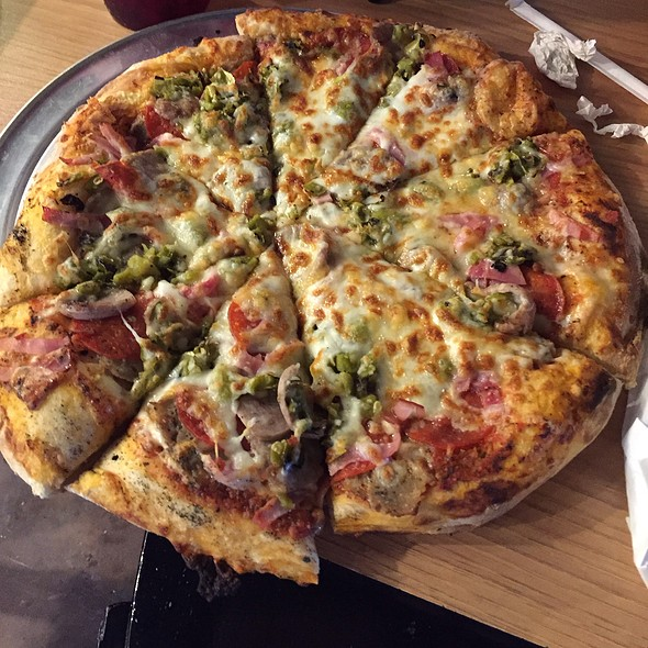Codie's Primal Pie Homemade Turkey Meatball,Sausage,Ham,Pepperoni And Roasted Green Chili Topped With A Five Cheese Blend. @ Underground Pizza
