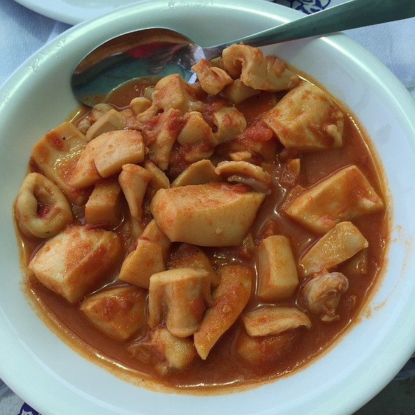 Cuttlefish In Tomato And Wine Sauce @ Methoni Beach