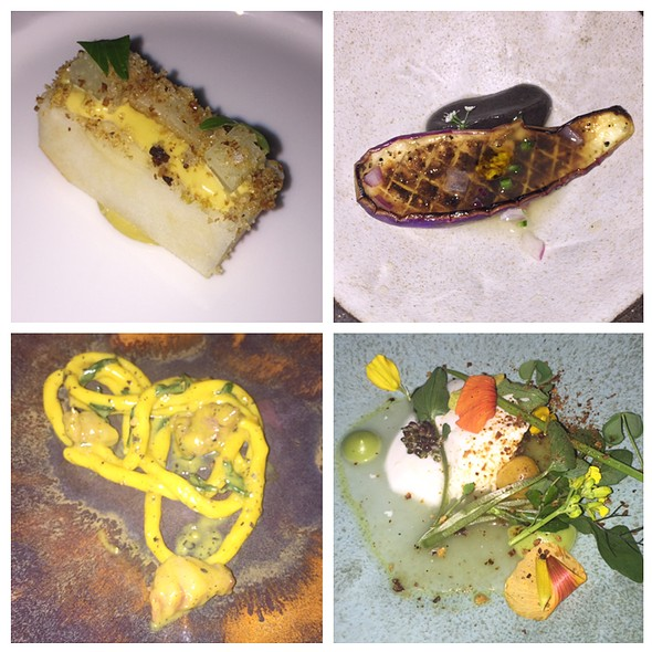 Cardoon Apple, Eggplant Ceviche, Carbonara, Cheese @ Blanca