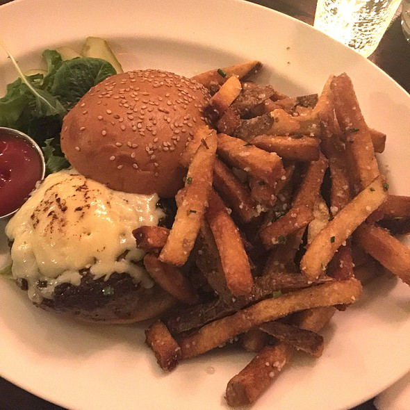 Beef Burger With Vermont Cheese On Brioche, Herb Fries