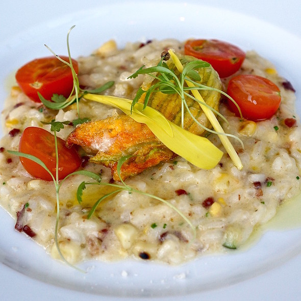 Sweet corn and bacon risotto, summer squash, squash blossom, sungold tomatoes