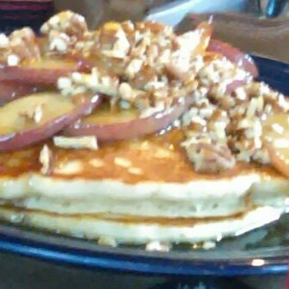 Caramel Apple Pecan Pancakes With Cranberry Juice @ The Whistle Stop Cafe