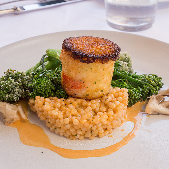 Levain Crusted Lobster and Shrimp Boudin, Israeli Couscous, Lobster Sauce - Angèle Restaurant & Bar, Napa, CA