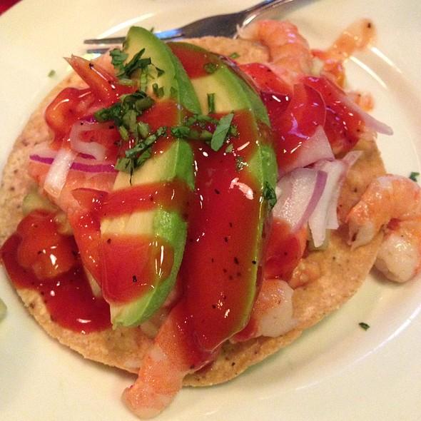Shrimp tostada @ Palapas Seafood Bar