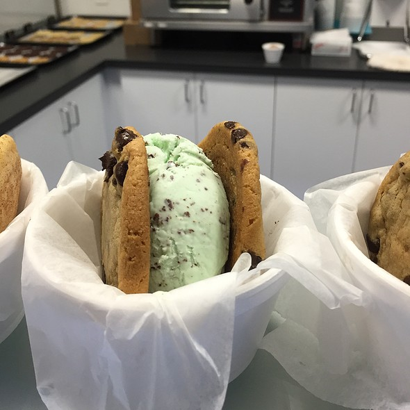 Chocolate Chip Cookies With Mint Ice Cream @ Gables Ice Cream
