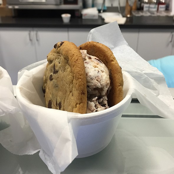 Chocolate Chip Cookies With Bunny Tracks Ice Cream Chocolate Covered Peanuts Carmel And Fudge @ Gables Ice Cream