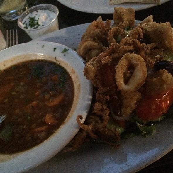 Lentil Soup & Calamari Salad - George's Greek Cafe - Pine Street, Long Beach, CA