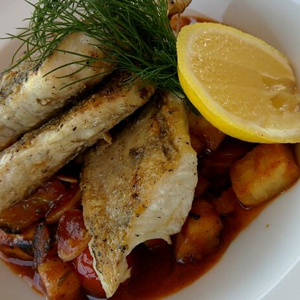 Grilled Zander In Butter With Ratatouille Zucchini @ NajVacPalac - Summer Restaurant Bar