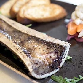 Roasted Bone Marrow, Oraganic Pesto, Crostini, Pickled Vegetables