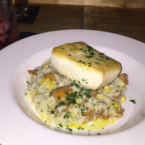 Fresh Halibut With Local Wild Mushroom Risotto - Chandler's a Restaurant, Petoskey, MI