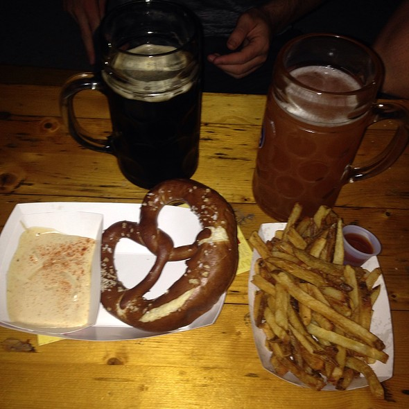 Bavarian Pretzel With Cheese And French Fries