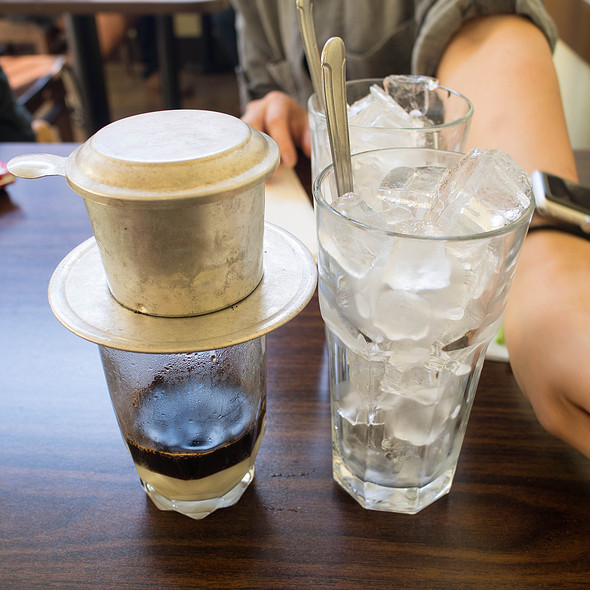 Cafe Sua Nong Da vietnamese filtered coffee with condensed milk hot & iced @ Turtle Tower Restaurant