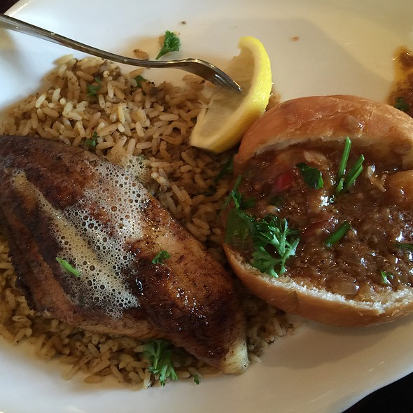 Blackened Catfish With Shrimp Etouffee Pistolette & Dirty Rice