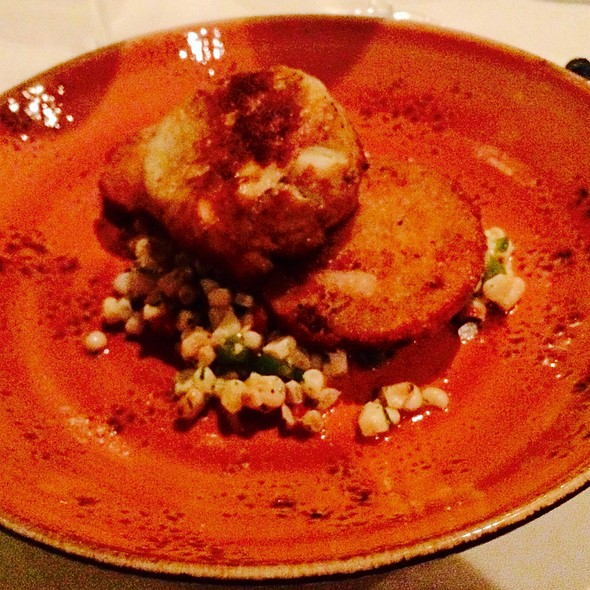 "Severn Inn ""No Filler"" Crab Cake Fried Green Tomatoes/Grilled Corn Sala @ Severn Inn"