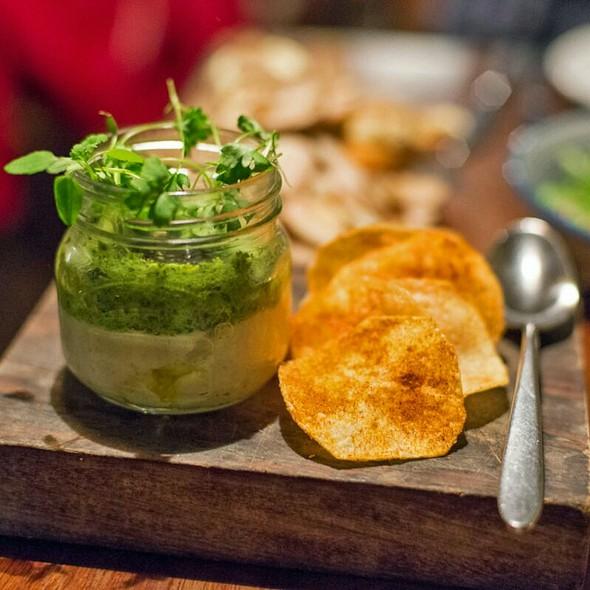 Salt cod mantecato, Squid ink mayo and Potato crisps @ Mele e Pere
