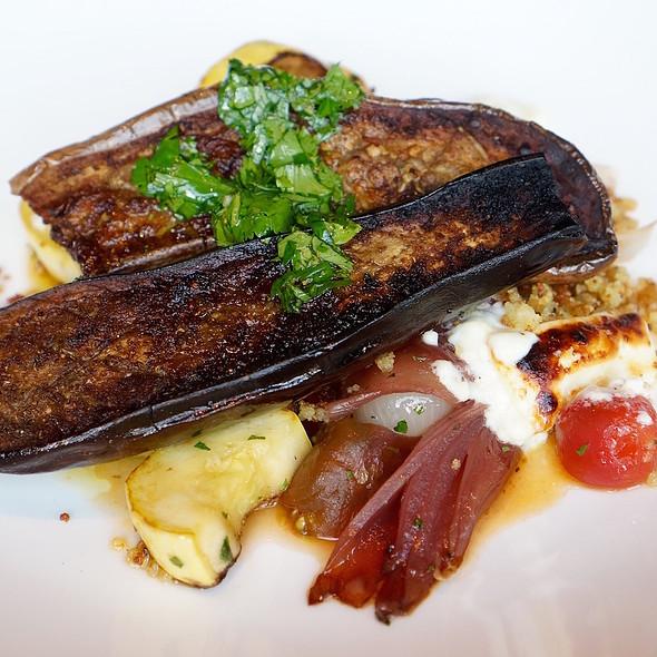 Roasted eggplant, berbere spiced eggplant, roasted summer squash, heirloom tomato, sheep's milk feta @ Wood