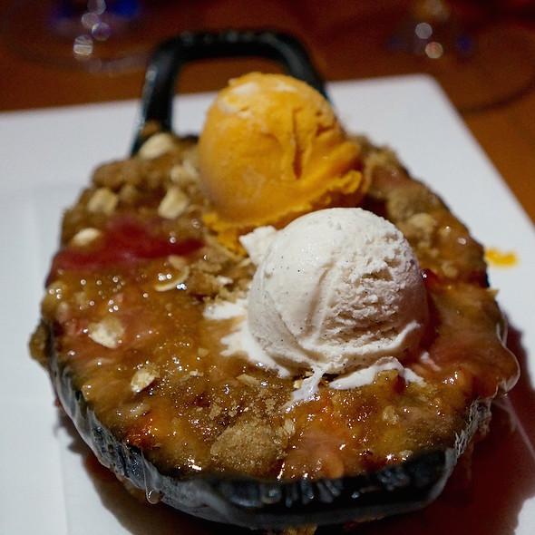 Palisade peach crisp, blueberries, apricot gelato, vanilla bean ice cream - Allred's Restaurant, Telluride, CO