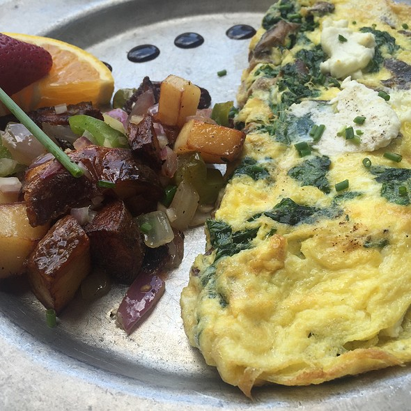 Goat Cheese, Spinach, And Portobello Omelet @ O-BO Restaurant and Wine Bar