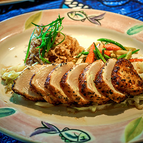 Opah Hana Ginger-Panko Crust with Kalua Pig Fried Rice