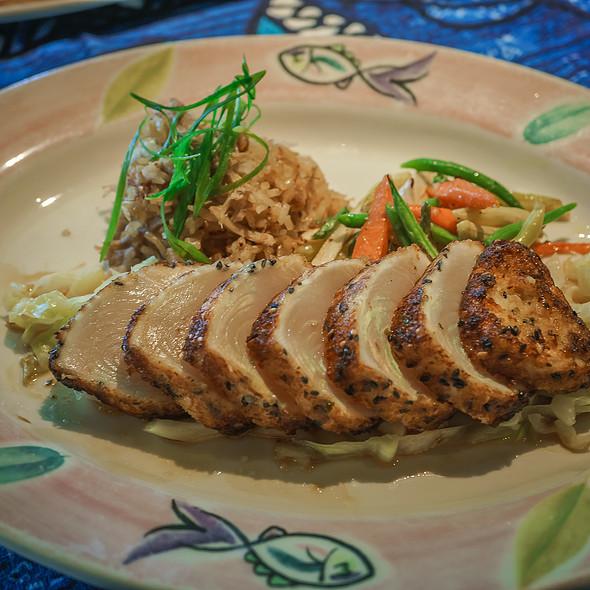 Opah Hana Ginger-Panko Crust with Kalua Pig Fried Rice - Mama's Fish House, Paia, HI