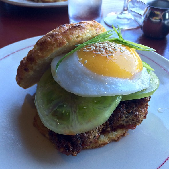 Biscuit With Korean Fried Chicken, Green Tomato, Duck Egg - Ribelle, Brookline, MA
