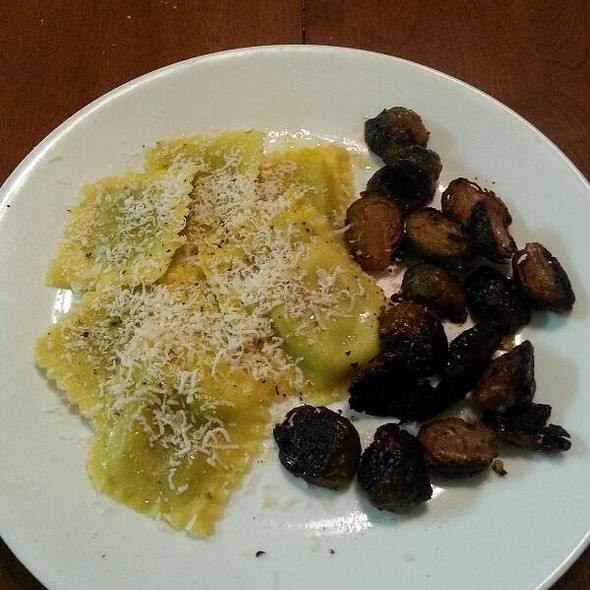 Arugula & Parmesean Ravioli With Roasted Brussel Sprouts